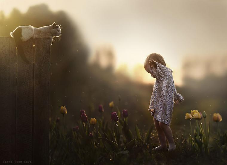 Fotógrafa tira fotos mágicas com seus dois filhos e animais