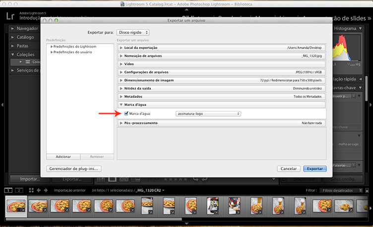 Tutorial de assinatura no Lightroom